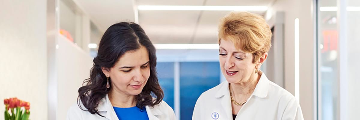 Memorial Sloan Kettering neurology department chair Lisa DeAngelis and research nurse Malbora Manne work to provide the best possible outcomes for people with brain tumors.