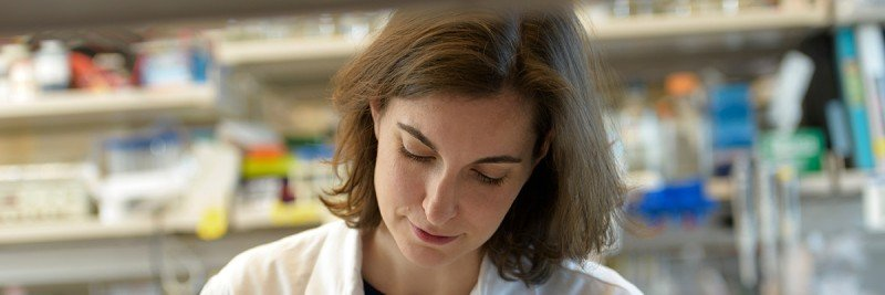 Adrienne Boire at the lab bench